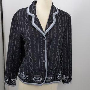 Silk Land black w blue piping/embroidery-sz M
